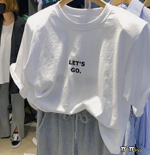 【預購】東大門款.Let's go 字母全彈力五分袖短版棉Tee~4色