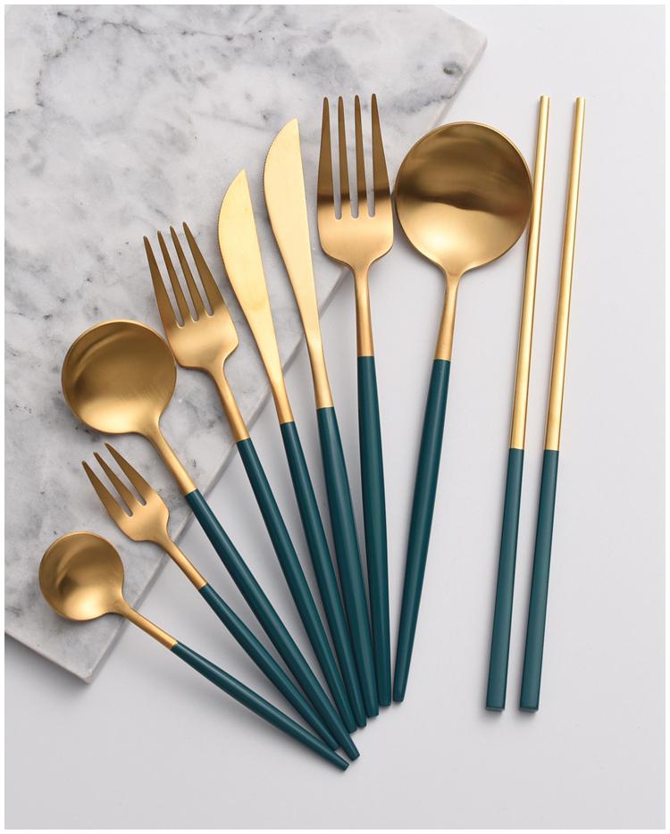 【預購】墨綠狂熱.墨綠x金 質感不鏽鋼餐具組合~9款(需分開購買)