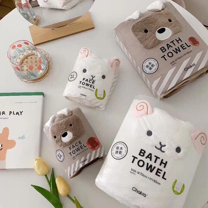 【預購】日本訂單.快速吸水 超可愛小動物毛巾&浴巾組~共5款(可單買毛巾or浴巾)