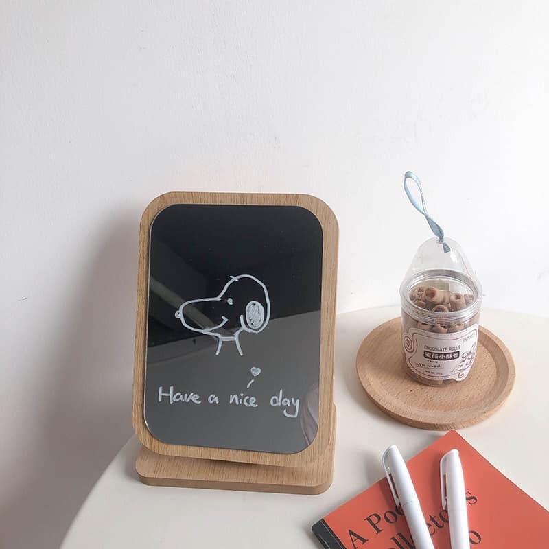 【預購】韓風家居.超實用!可調整角度 桌上型木質化妝鏡