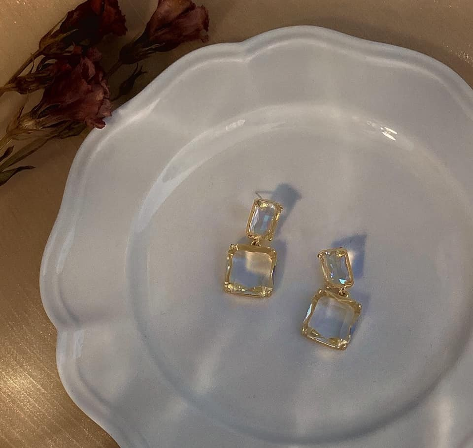【預購】港風高級感.閃耀透明寶石耳環(耳針、耳夾款都有)