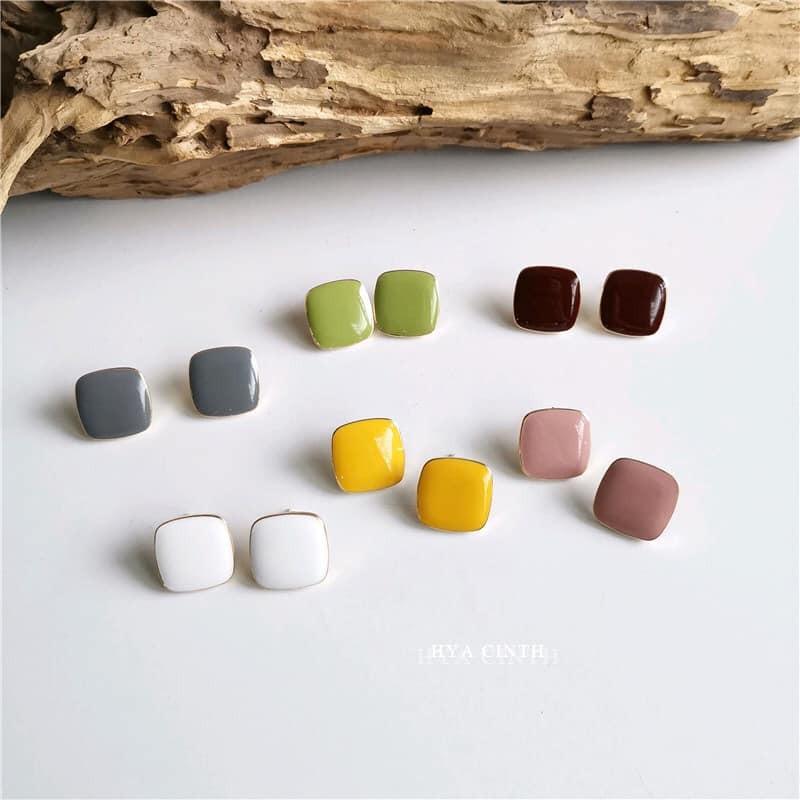 【預購】莫蘭迪小方塊925銀針耳環~6色
