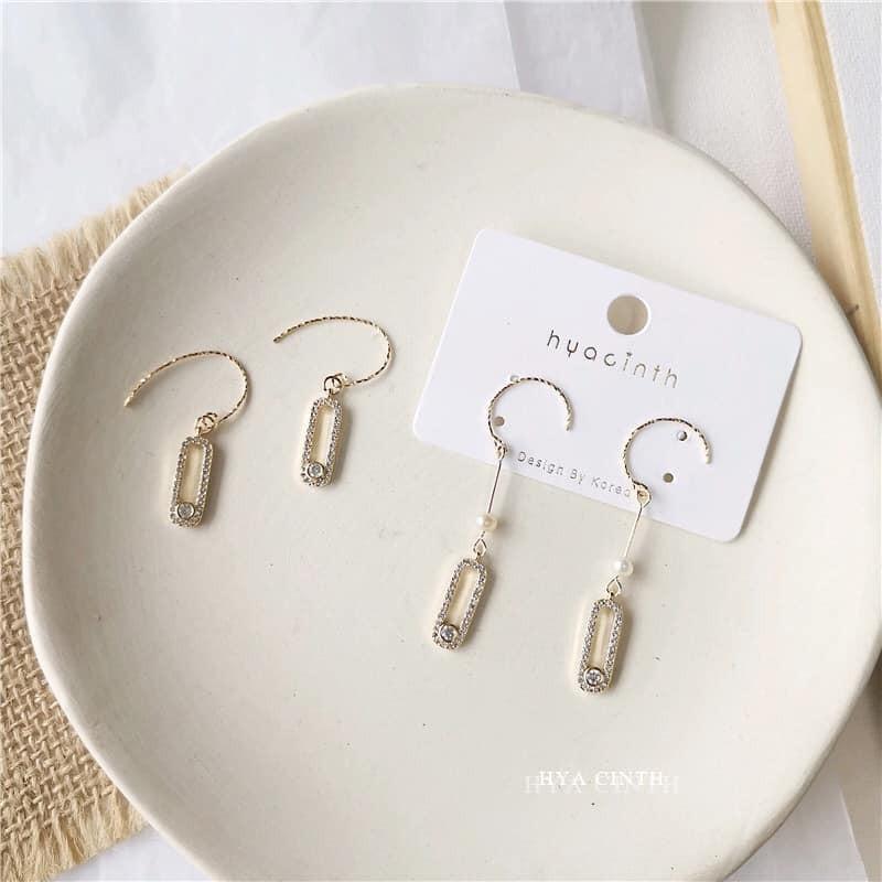 【預購】韓輕奢質感鋯石方塊耳鉤式耳環~2款