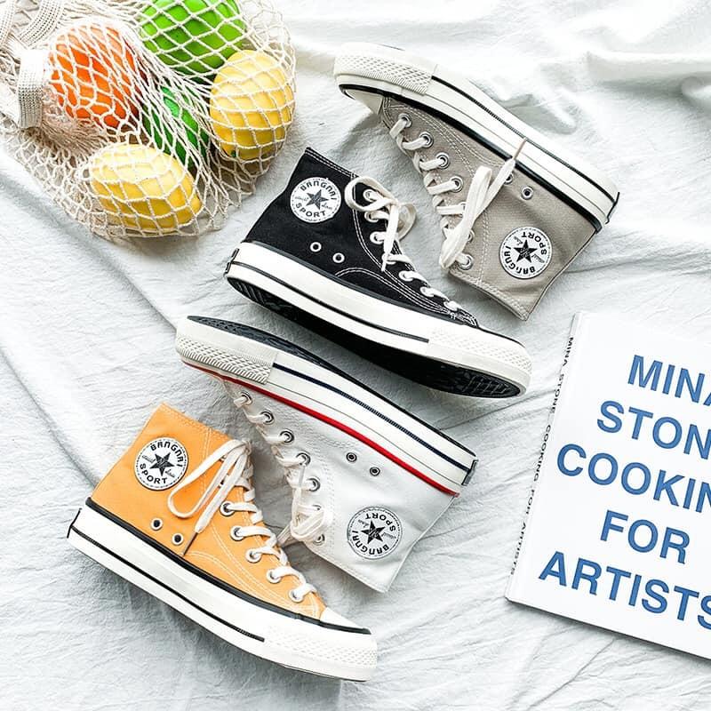 【預購】經典款街頭風高筒帆布鞋~4色 (35~40)