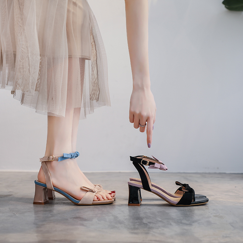 【預購】法式微甜.設計款拼色高跟涼鞋~2色(34~39)