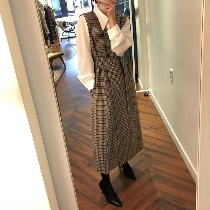 【預購】英倫風質感襯衫+格紋毛呢背心洋裝(兩件需分開購買)