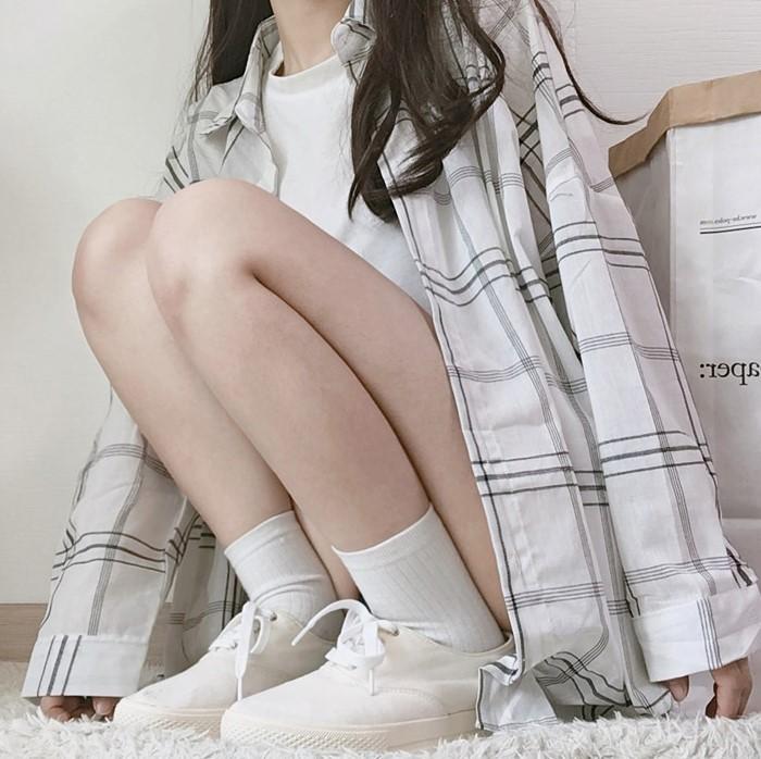 【預購】日系甜美學院風格子襯衫上衣外套~2色