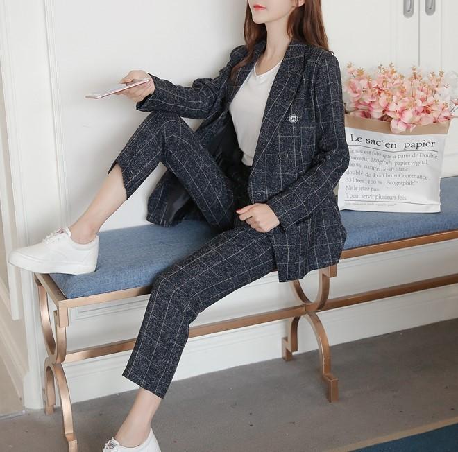 【預購】韓風格紋西裝外套+長褲套裝~2色(S~XL)