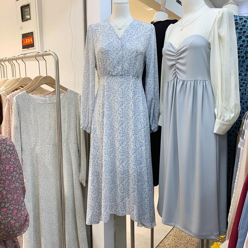 【預購】東大門款.夢幻藍紫色 綁帶碎花長洋裝