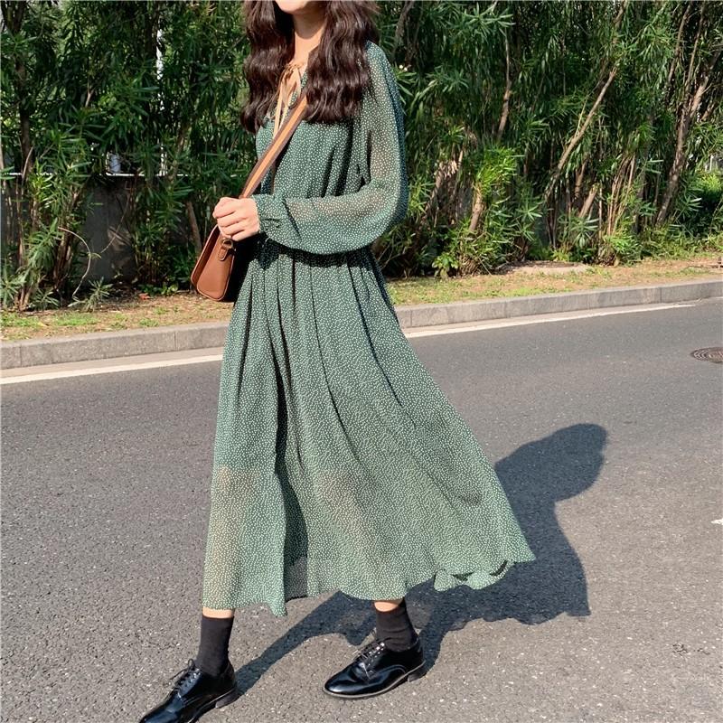 【預購】我是可以駕馭綠色的女子!法式復古風波點長洋裝