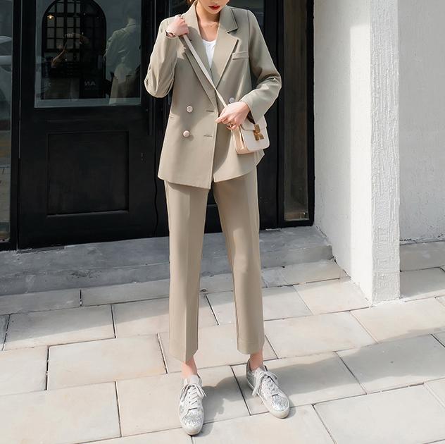 【預購】知性女子專用.雙排扣質感西裝外套+長褲套裝~2色(S~XL)