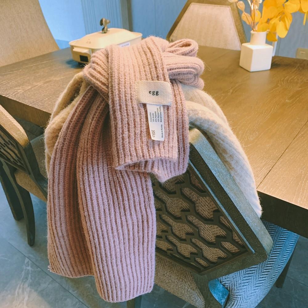 【韓製.預購】秋冬百搭款.真的會保暖的 高級色系針織圍巾~6色