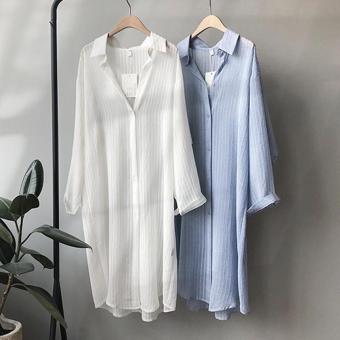 【預購】質感慵懶風.坑條紗織長版罩衫~3色