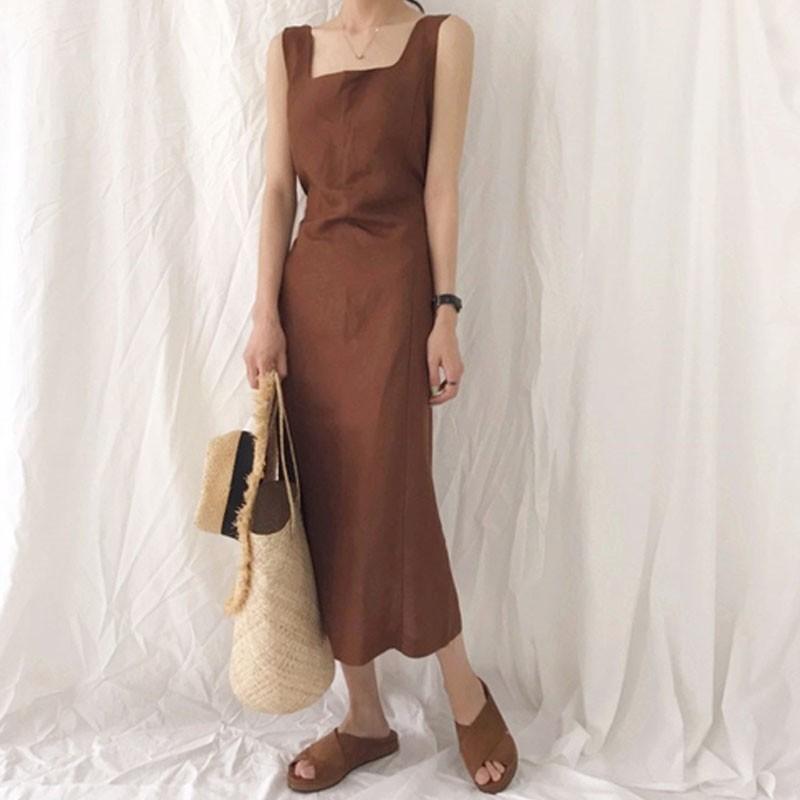 【預購】復古文藝風.法式方領咖啡色長洋裝
