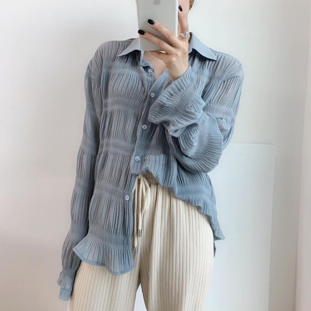 【預購】法式姊姊風.設計款抓皺透膚雪紡襯衫上衣~3色