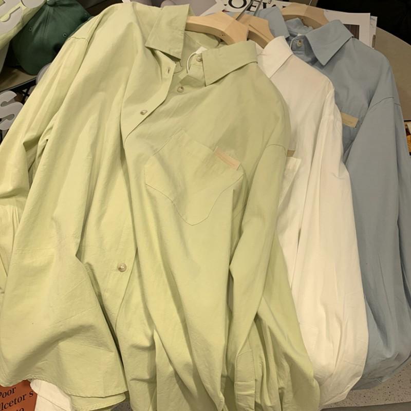 【預購】春秋款.字母皮標 挺版棉質襯衫~3色