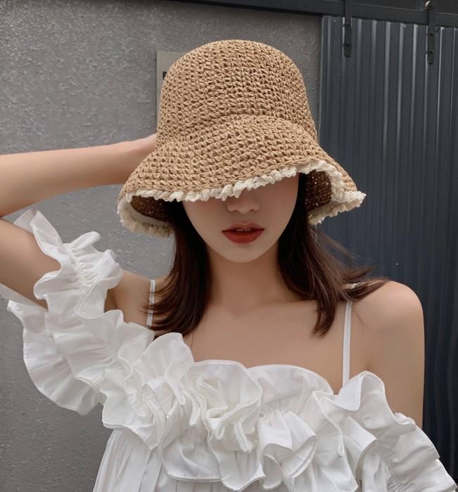 【預購】偶爾想低調一點.蕾絲拼接草編漁夫帽~2色