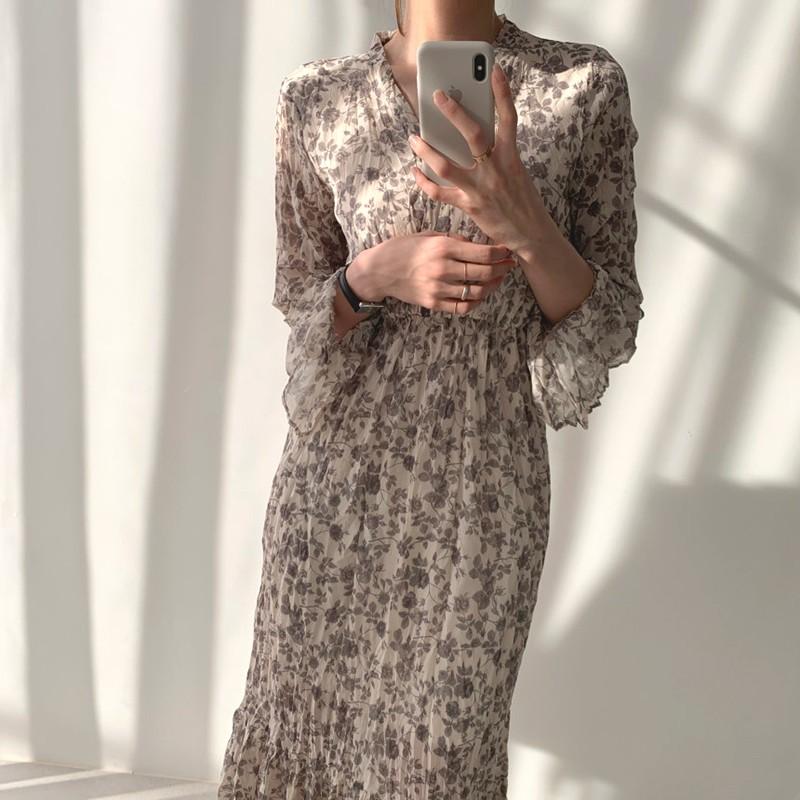 【預購】法式復古風.水墨花朵雪紡長洋裝
