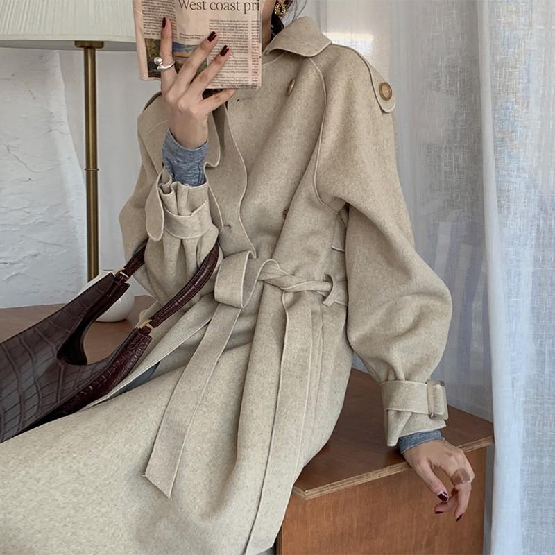 【預購】知性女子專用.法式優雅雙面毛呢綁帶大衣外套~2色