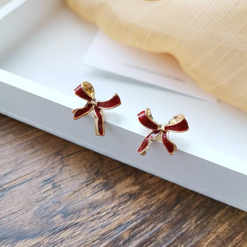 【預購】在逃公主 ♥ 紅色蝴蝶結 百搭耳環(耳針、耳夾款都有)