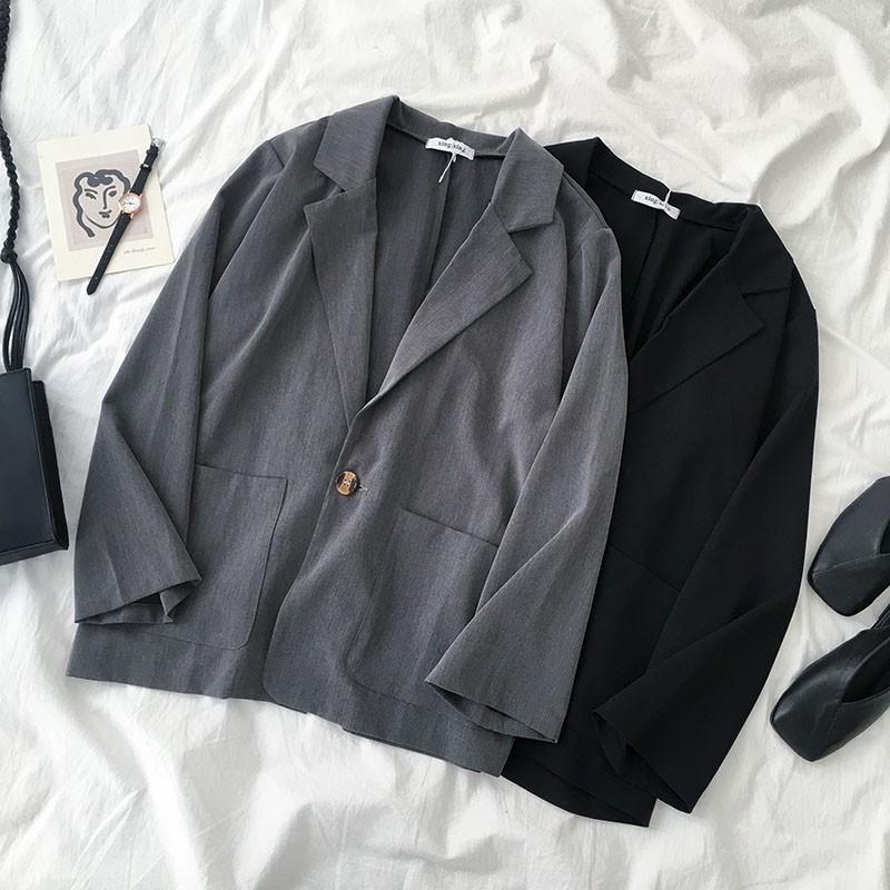 【預購】夏天可以穿得住!一粒扣單層西裝外套~2色