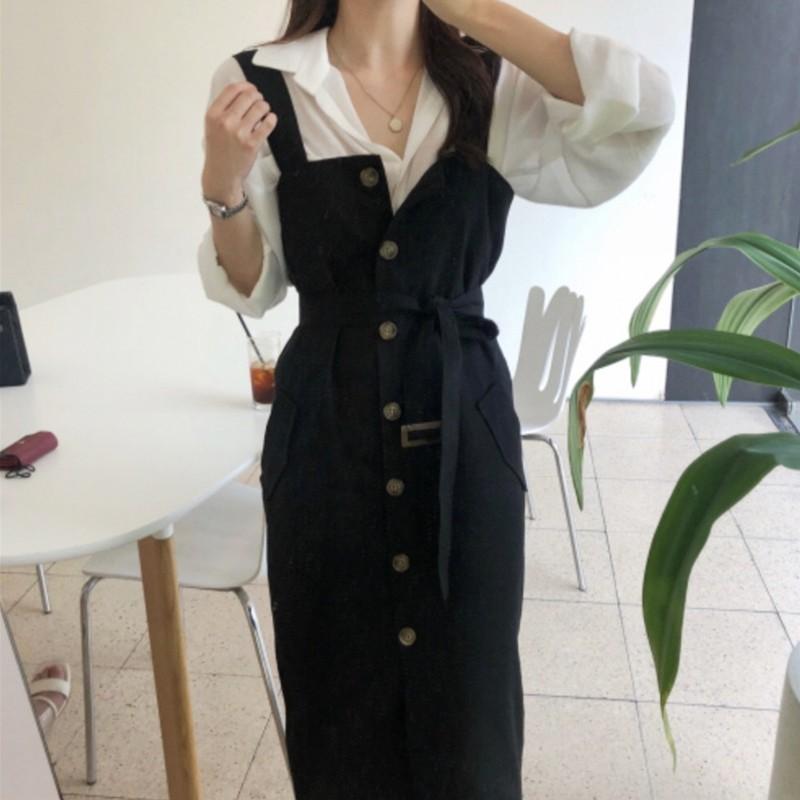 【預購】率性韓風.翻領襯衫+綁帶吊帶裙套裝(兩件需分開購買)