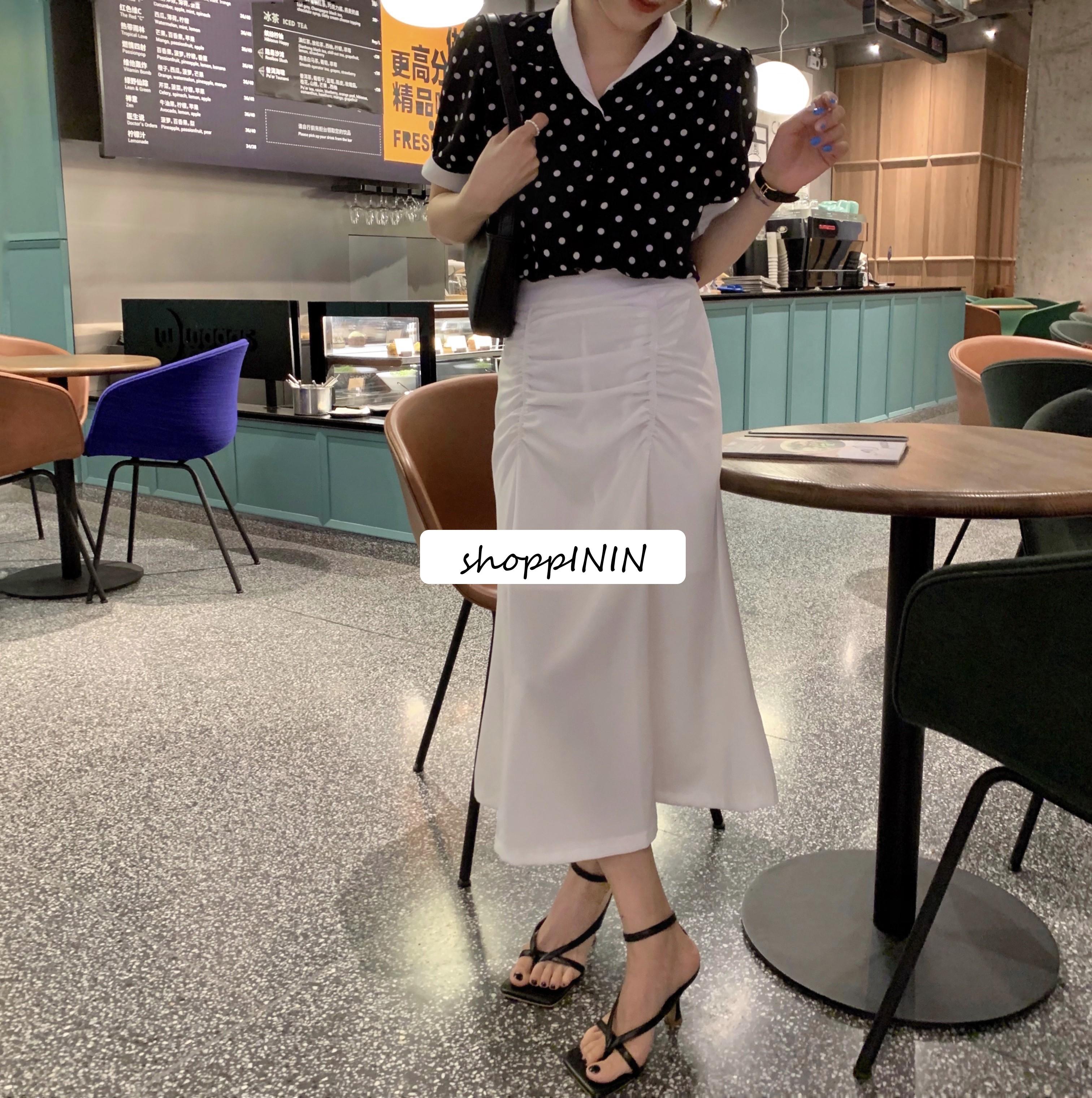 【預購】法式高級感.雪紡抓皺魚尾半身裙~2色(限量款)