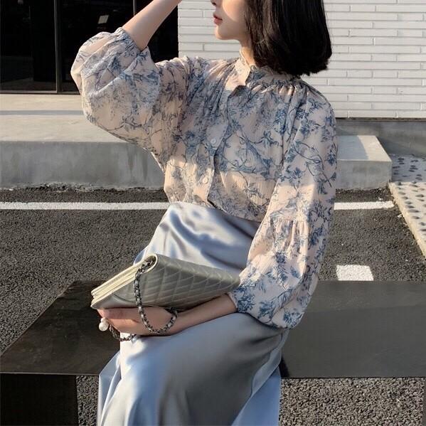 【預購】知性女子專用.靜謐藍 復古質感襯衫上衣