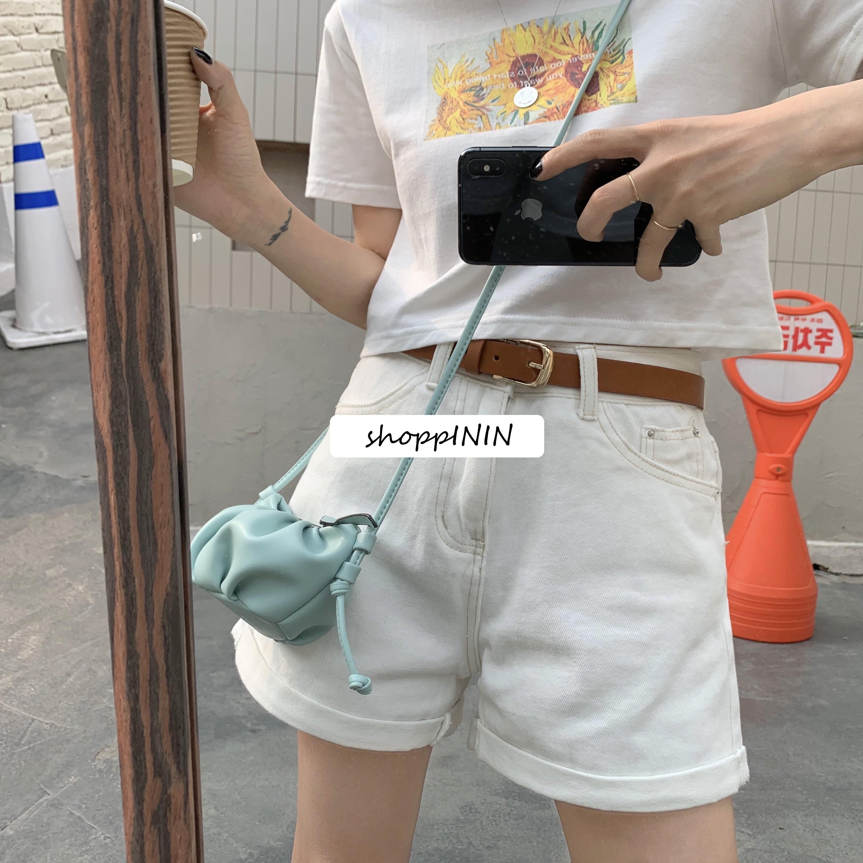 【預購】衣櫃必備款!版型好的百搭白色牛仔短褲(S~XL)