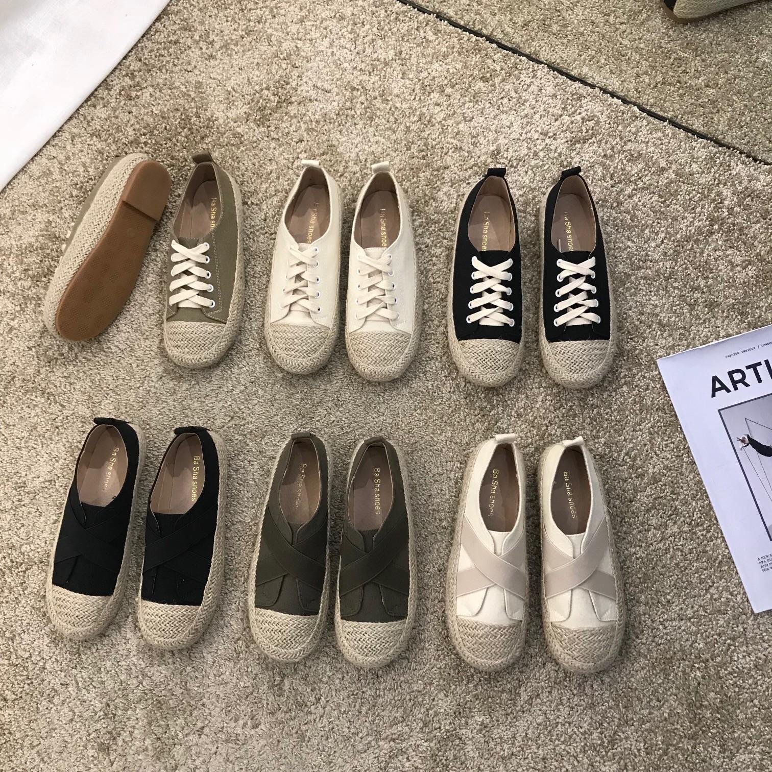 【預購】東大門同款.夏日質感軟底超好走草編帆布鞋~6色