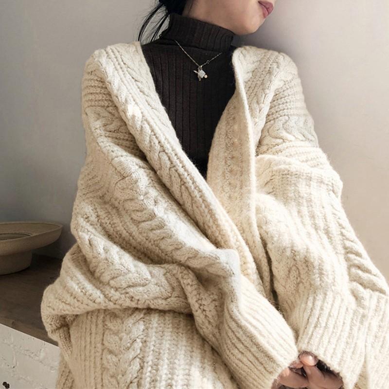 【預購】秋冬氣質首選.重工麻花紋長版開衫毛衣外套~2色