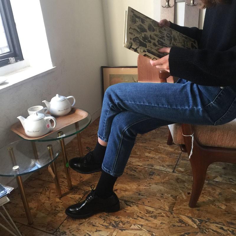 【預購】歐膩的日常.氣質深藍色直筒九分牛仔褲