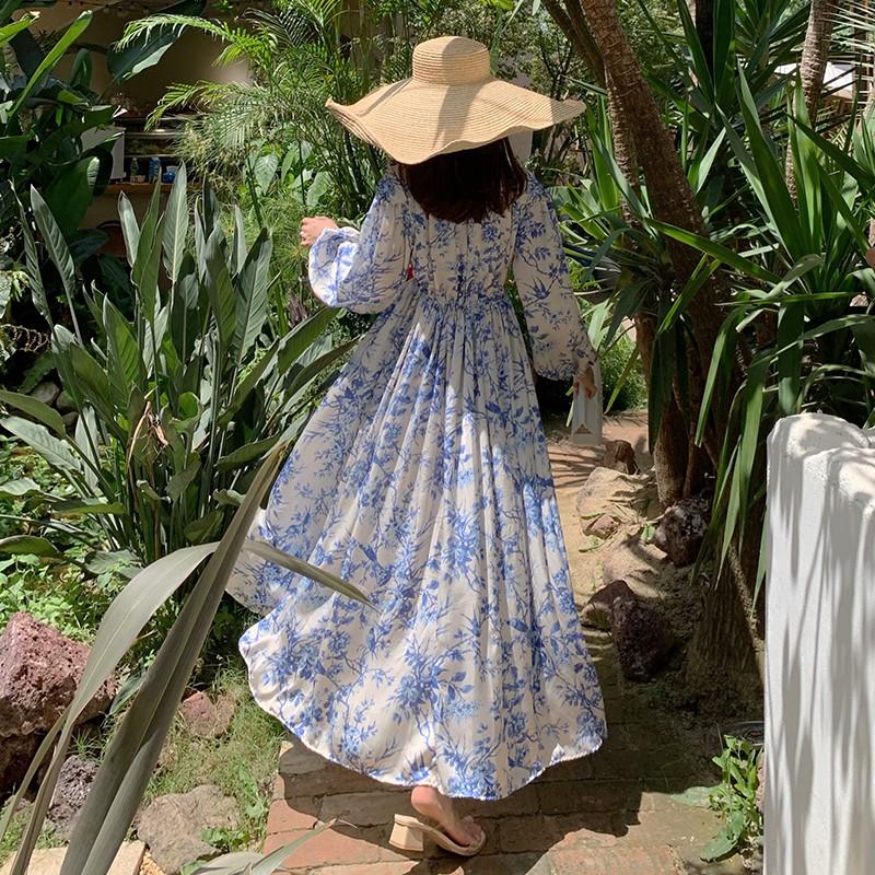 【預購】質感度假洋裝 ♥ 法式文藝復古風 藍色印花長洋裝