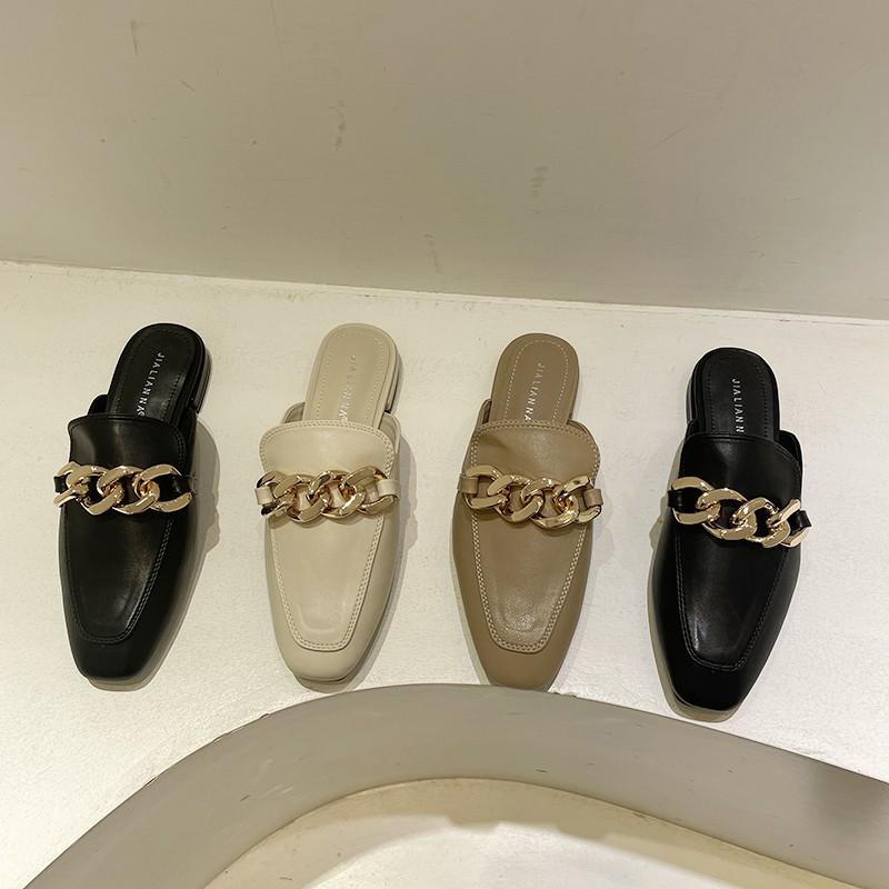 【預購】知性女子專用.俐落感鍊條 超百搭軟底穆勒鞋半拖鞋~3色