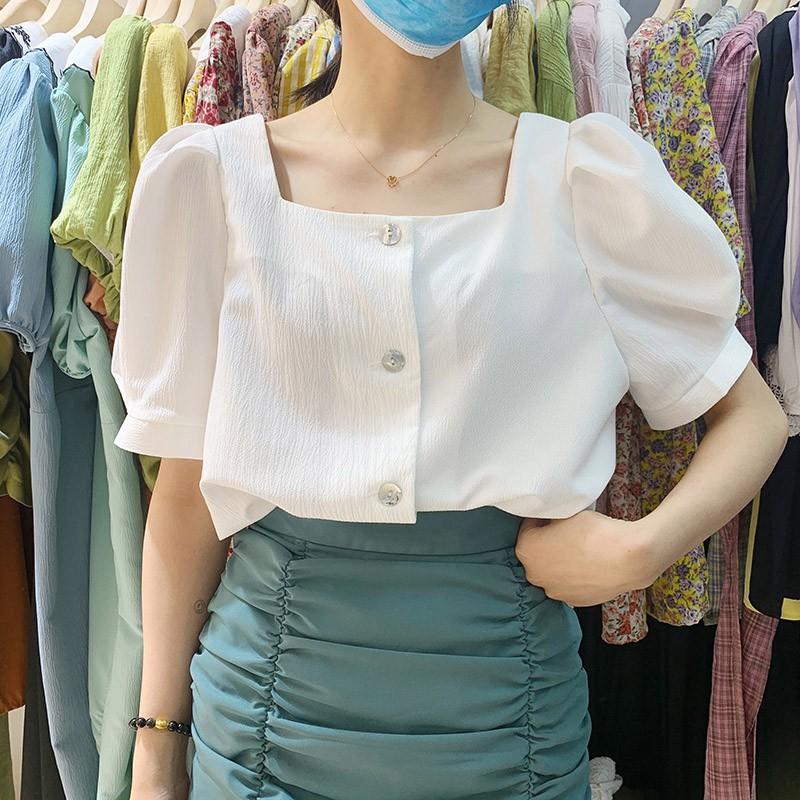 【預購】東大門款.顯瘦設計 方領短袖雪紡襯衫上衣
