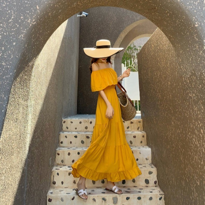 【預購】度假必備!拍照很美的 一字肩浪漫長洋裝