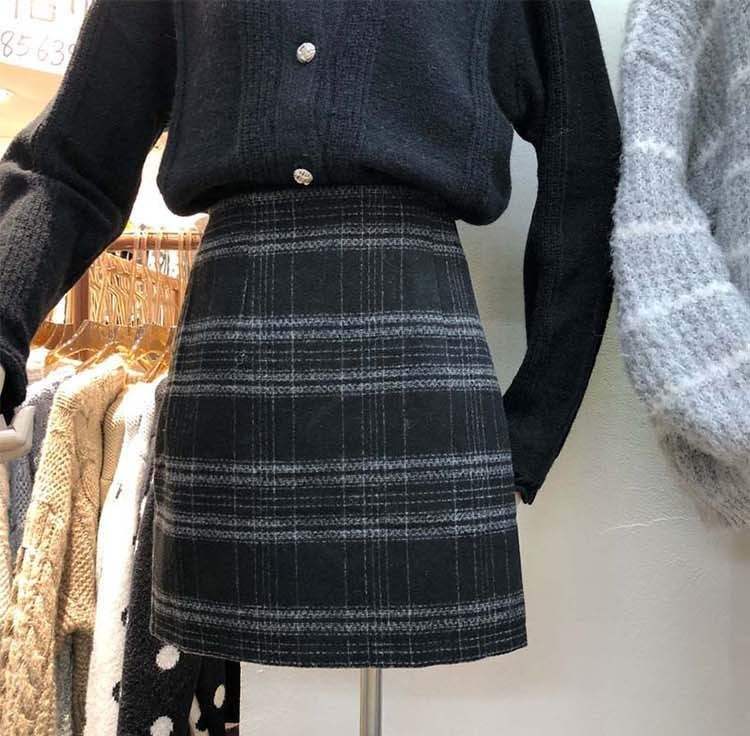 【預購】東大門款.版型超厲害的格紋A字半身裙