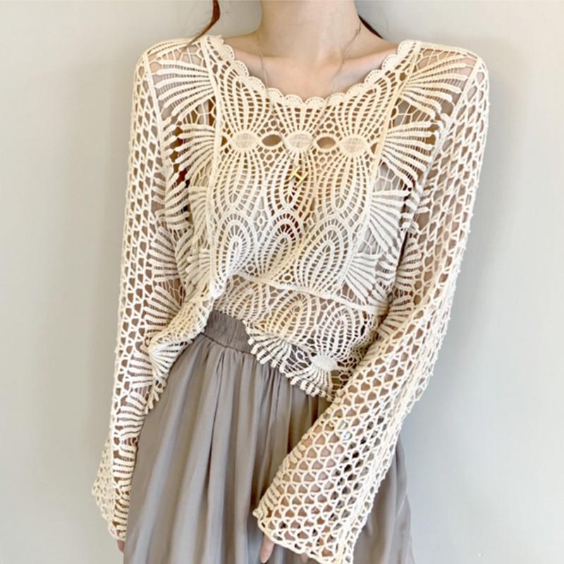 【預購】歐美風 蕾絲縷空 質感設計款罩衫上衣~2色