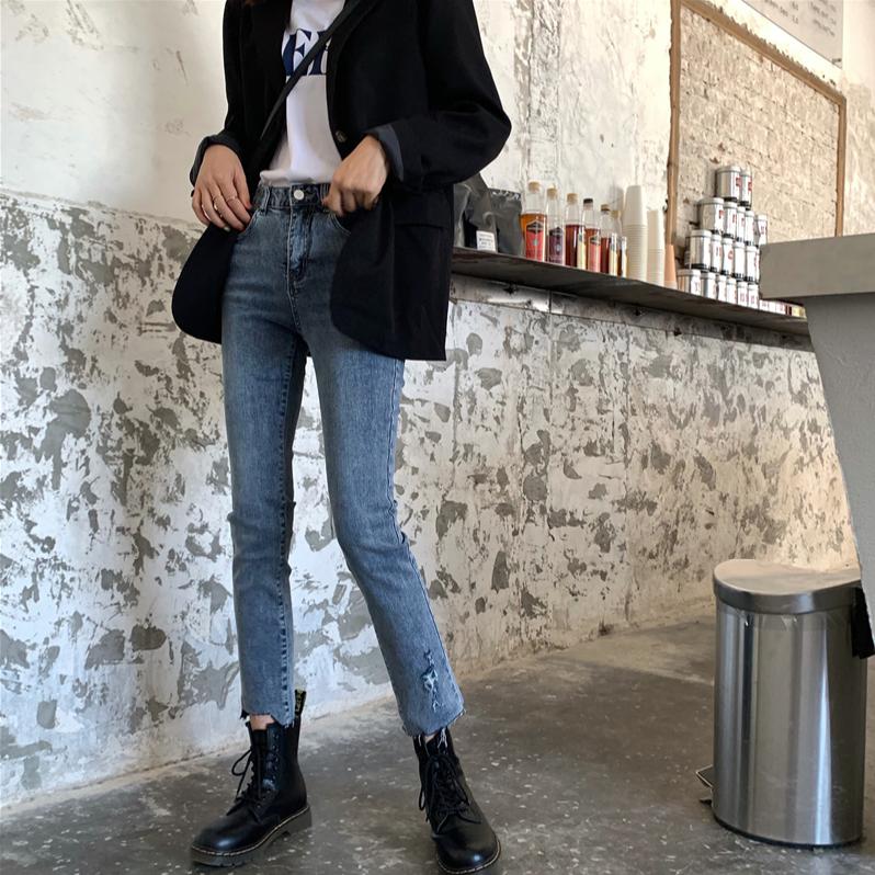 【預購】牛仔褲大賞.微刷破不規則彈力牛仔褲