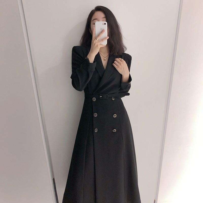 【預購】質感姐姐風.韓系微復古 顯瘦款 長袖雙排扣長洋裝~2色