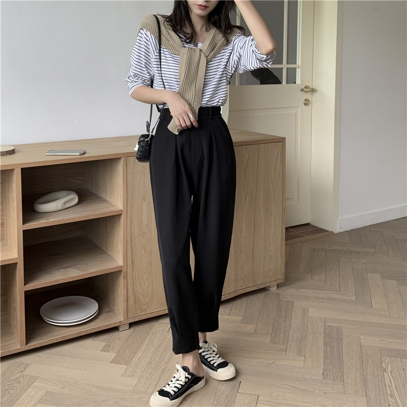 【預購】可愛文藝風.設計款 厚雪紡西裝哈倫褲~3色(S~XL)
