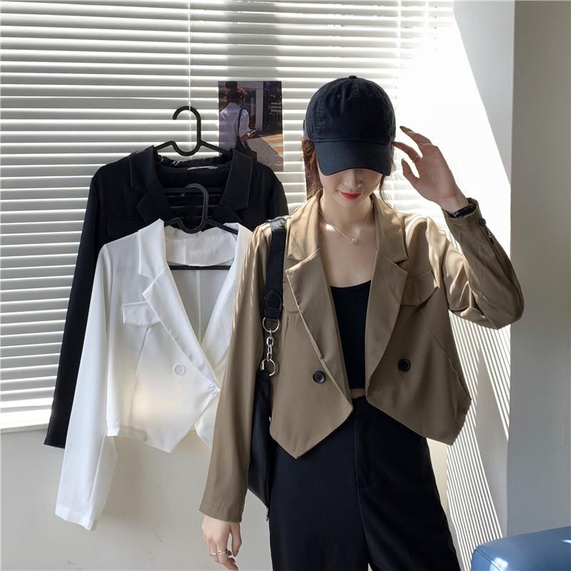【預購】夏天穿得住!輕設計 顯高小短款雪紡西裝外套~3色