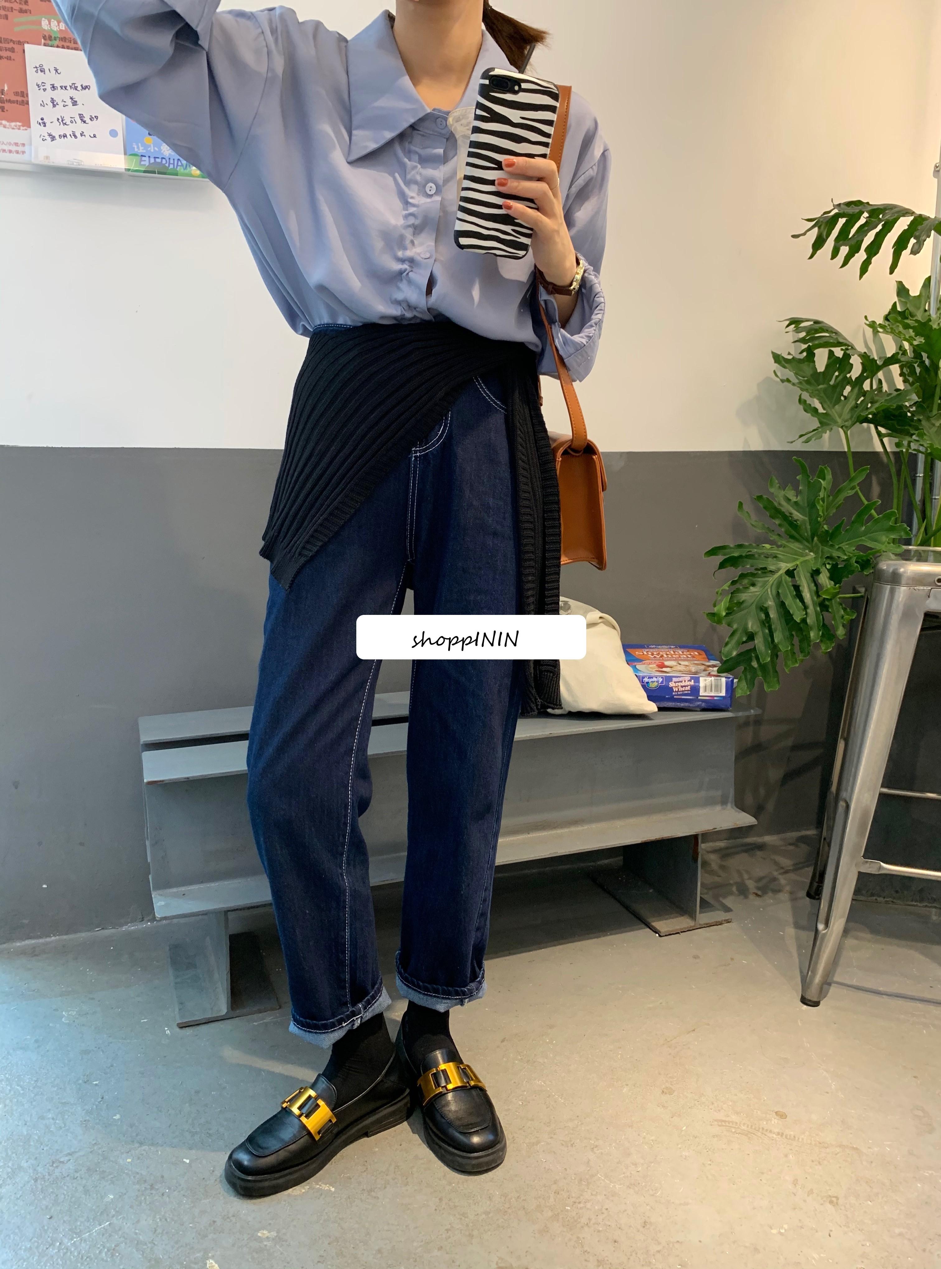 【預購】秋冬色!氣質深牛仔藍 會一直穿的直筒牛仔褲