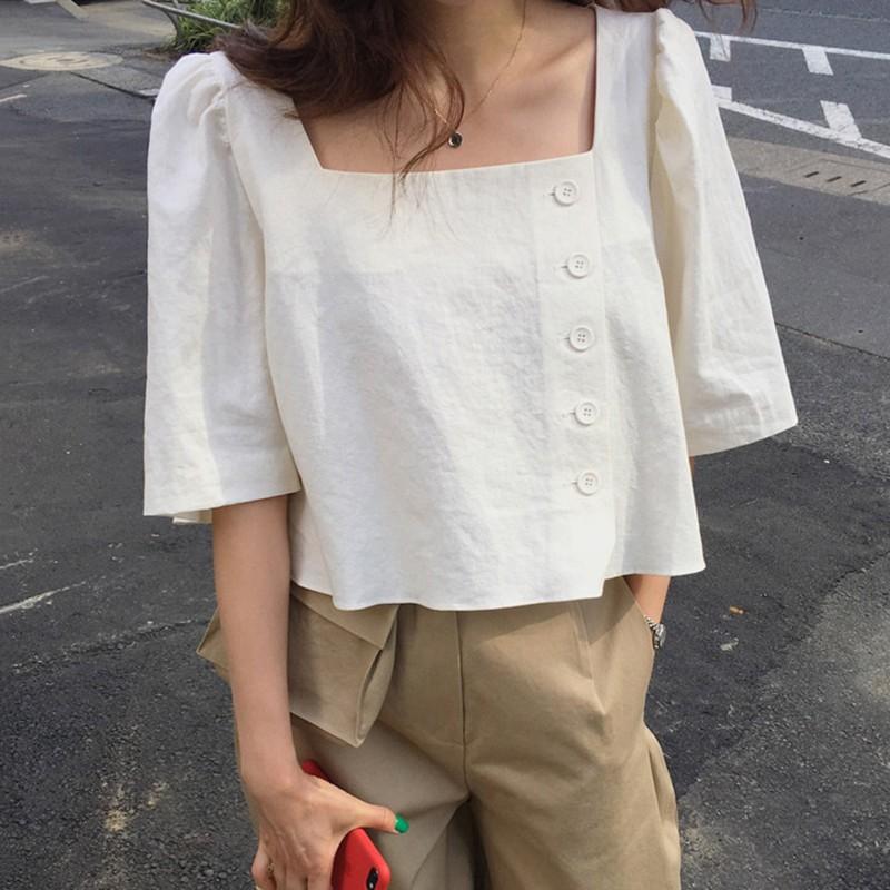 【預購】法式簡約風.方領 短版排扣襯衫上衣~2色