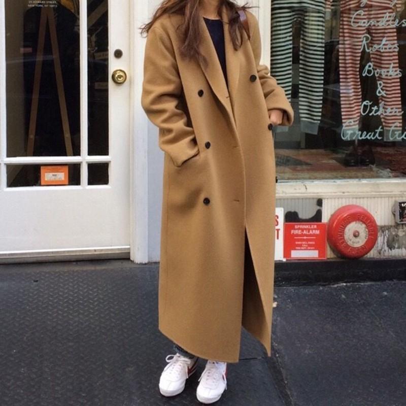 【預購】經典款!不會錯的西裝領雙排扣毛呢長大衣~2色