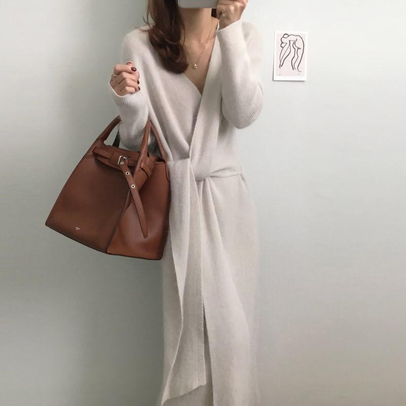 【預購】溫柔風.法式氣質交叉綁帶針織洋裝~2色