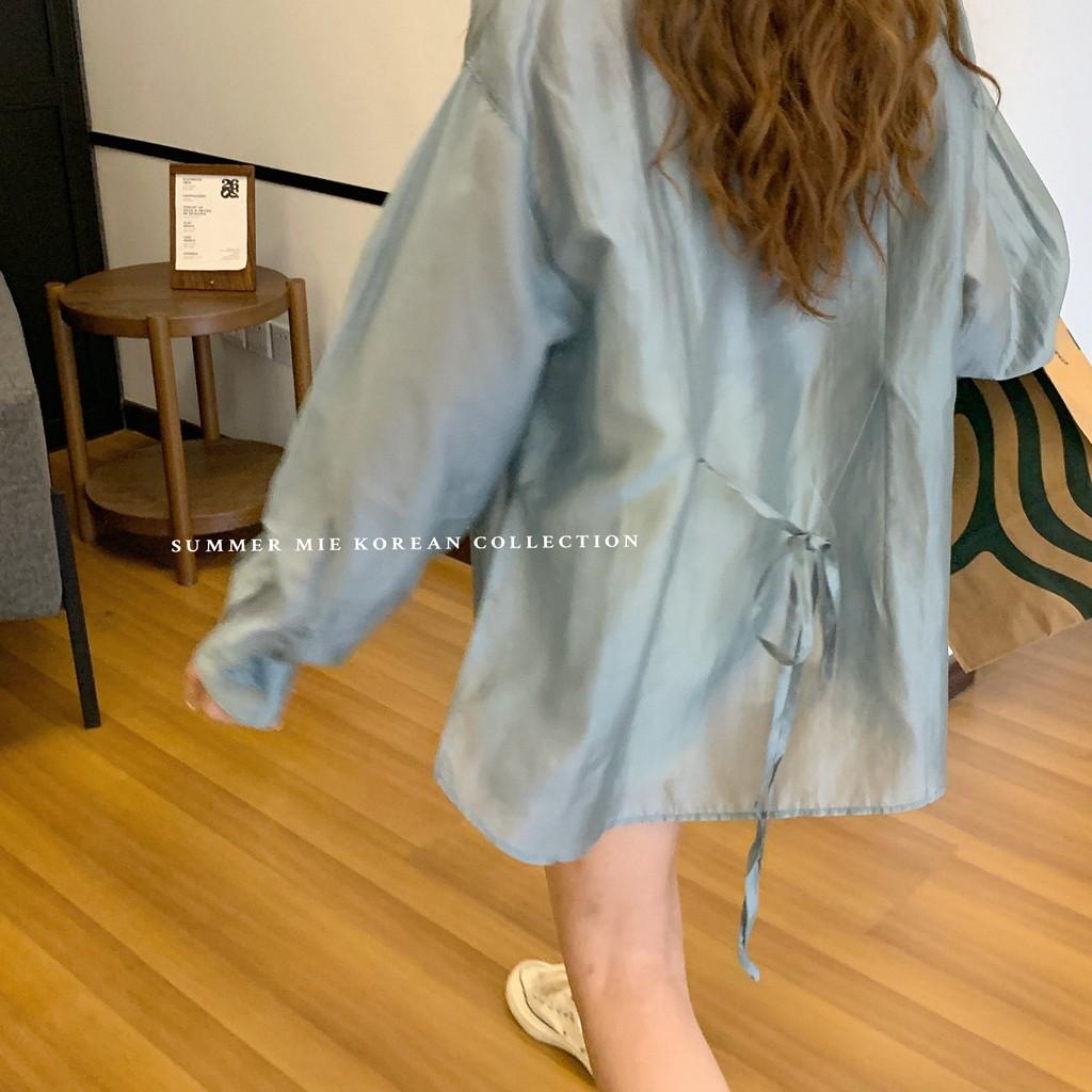 【預購】法式設計款.質感側開衩 綁帶天絲襯衫~2色