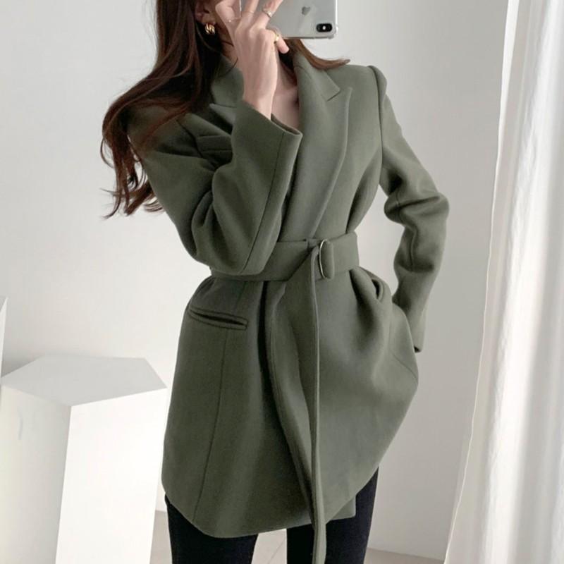 【預購】法式優雅風雙口袋綁帶毛呢西裝外套~3色