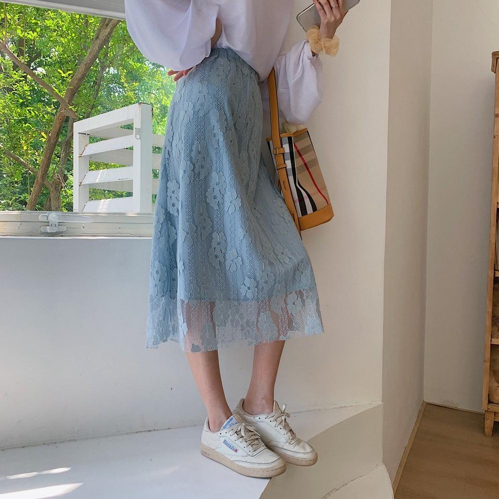 【預購】韓國訂單.彈力腰圍 百搭款蕾絲半身裙~2色