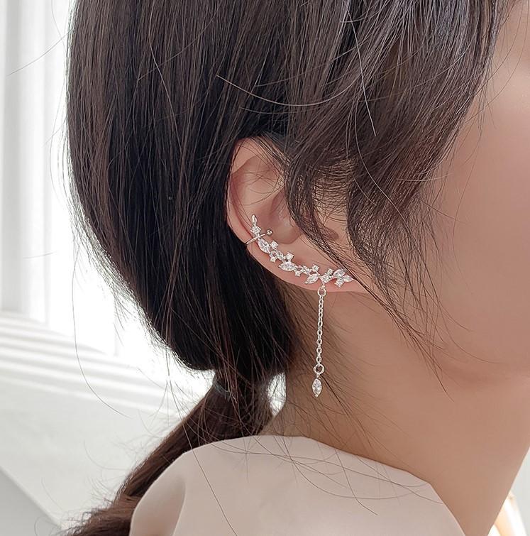 【預購】心動的感覺!葉子流蘇水鑽單邊耳環/耳骨夾